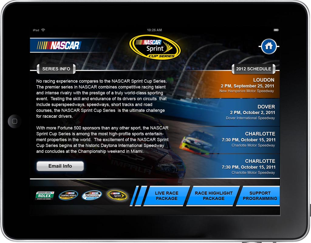 NASCAR App Screen - 2 | Presenting Customized Content From Catalog Mobile App