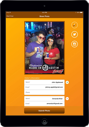 Budweiser App Screen - 1| Taking & Sharing Pictures At Events Mobile App