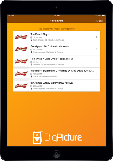 Budweiser App Screen - 3  Taking & Sharing Pictures At Events Mobile App