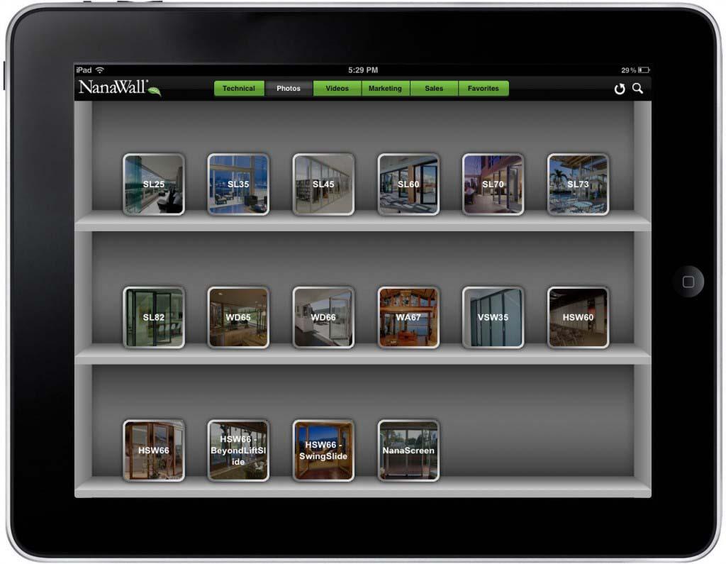 NanaWall App Screen - 3   Sales Enablement Marketing Content Mobile App