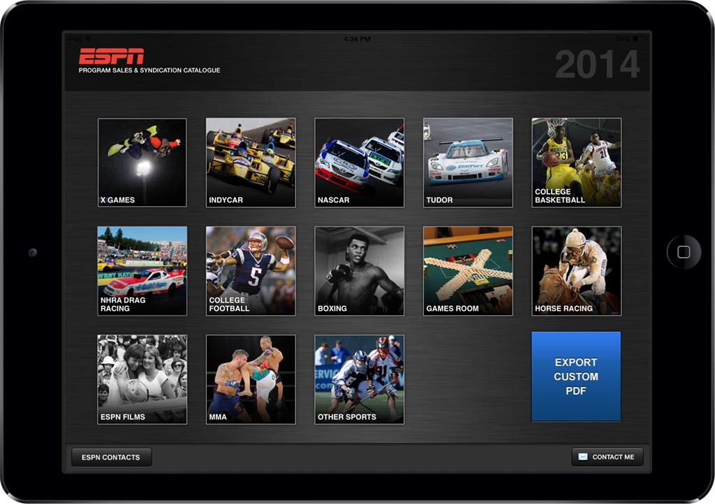 ESPN App Screen - 1 | Customized Sales Collateral Mobile App