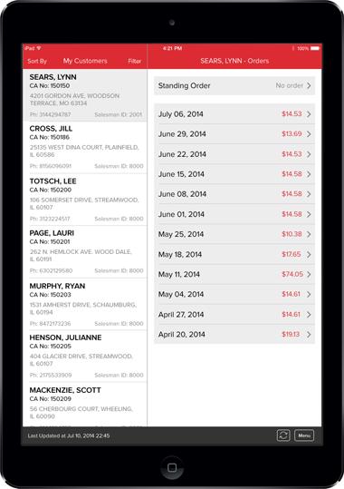 Oberweis Dairy App Screen - 2 | Door to Door Sales Mobile App