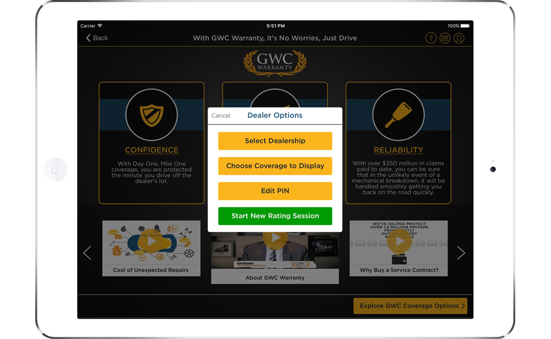 GWC Warranty App Screen - 1| Customizing Insurance Proposals Mobile App