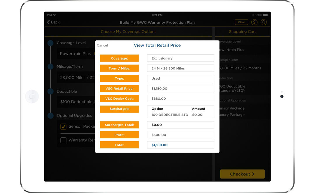 GWC Warranty App Screen - 3  Customizing Insurance Proposals Mobile App