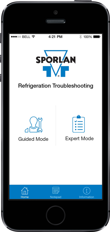Parker Hannifin Sporlan App Screen - 1 | Refrigerator Troubleshooting Mobile App