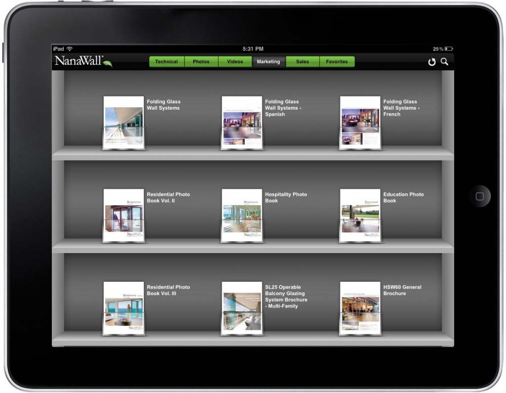 NanaWall App Screen - 2 | Sales Enablement Marketing Content Mobile App
