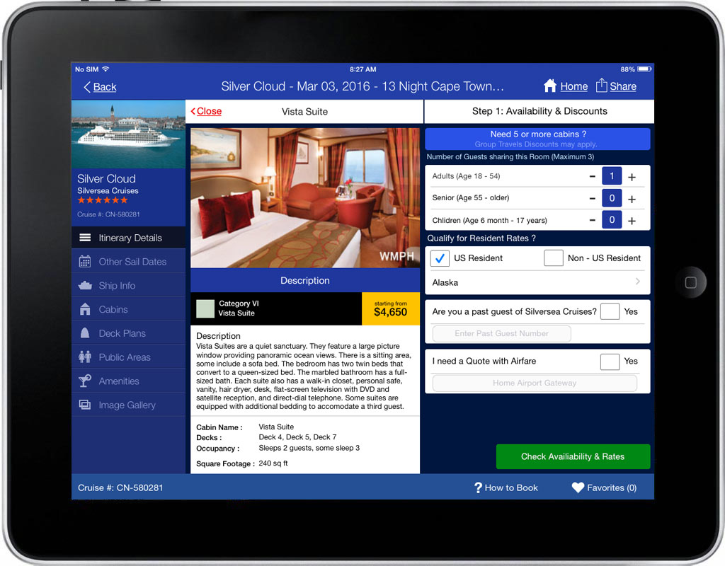 iCruise App Screen - 1 | Cruise Searching, Planning & Booking Mobile App
