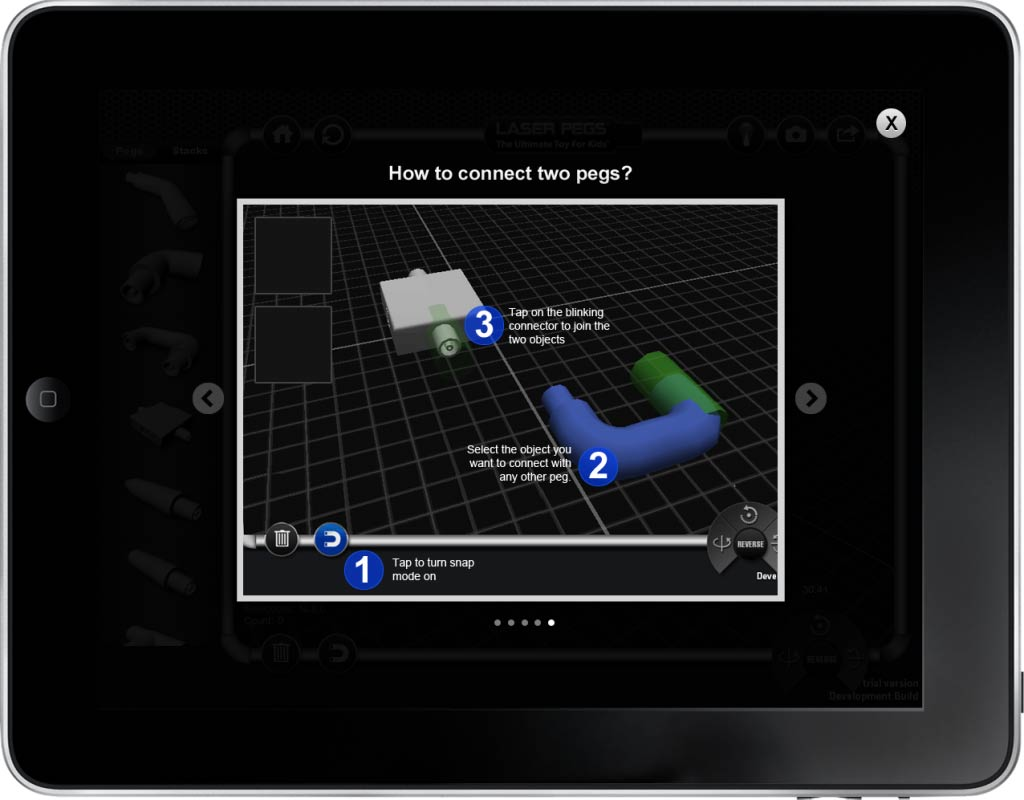 Laser Pegs App Screen - 5 | Interactive 3D Models Mobile App