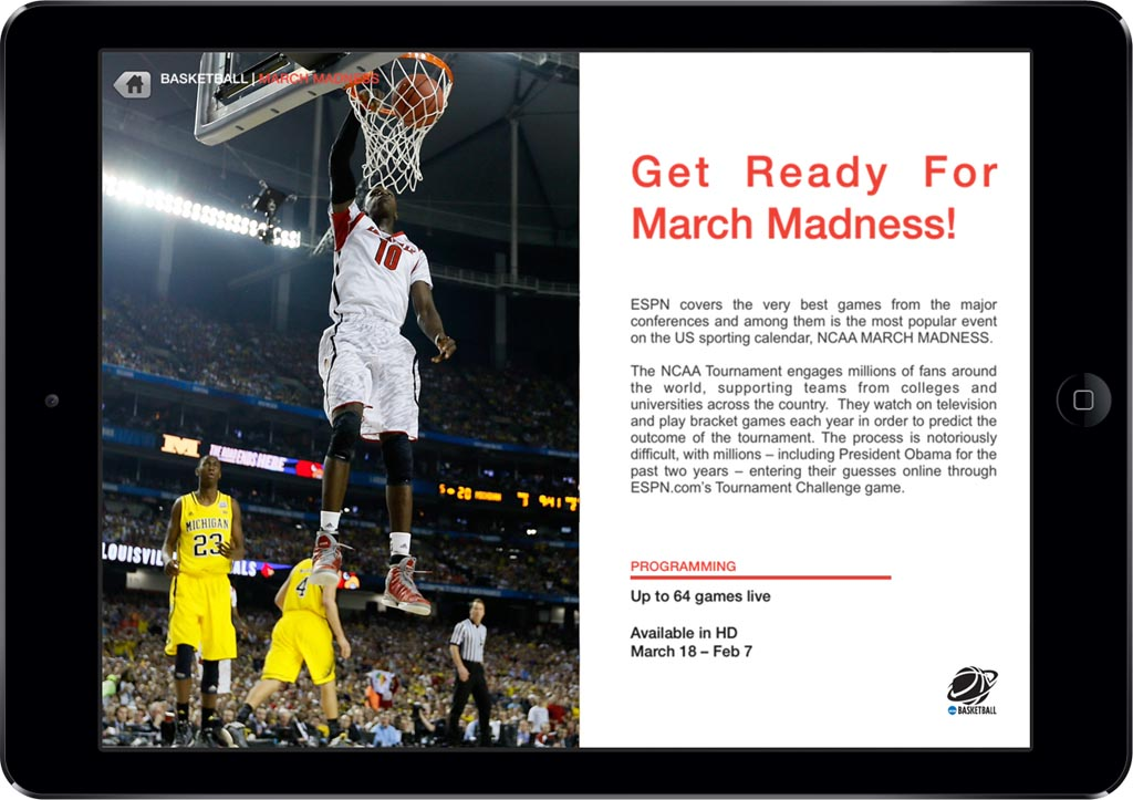 ESPN App Screen - 4 | Customized Sales Collateral Mobile App
