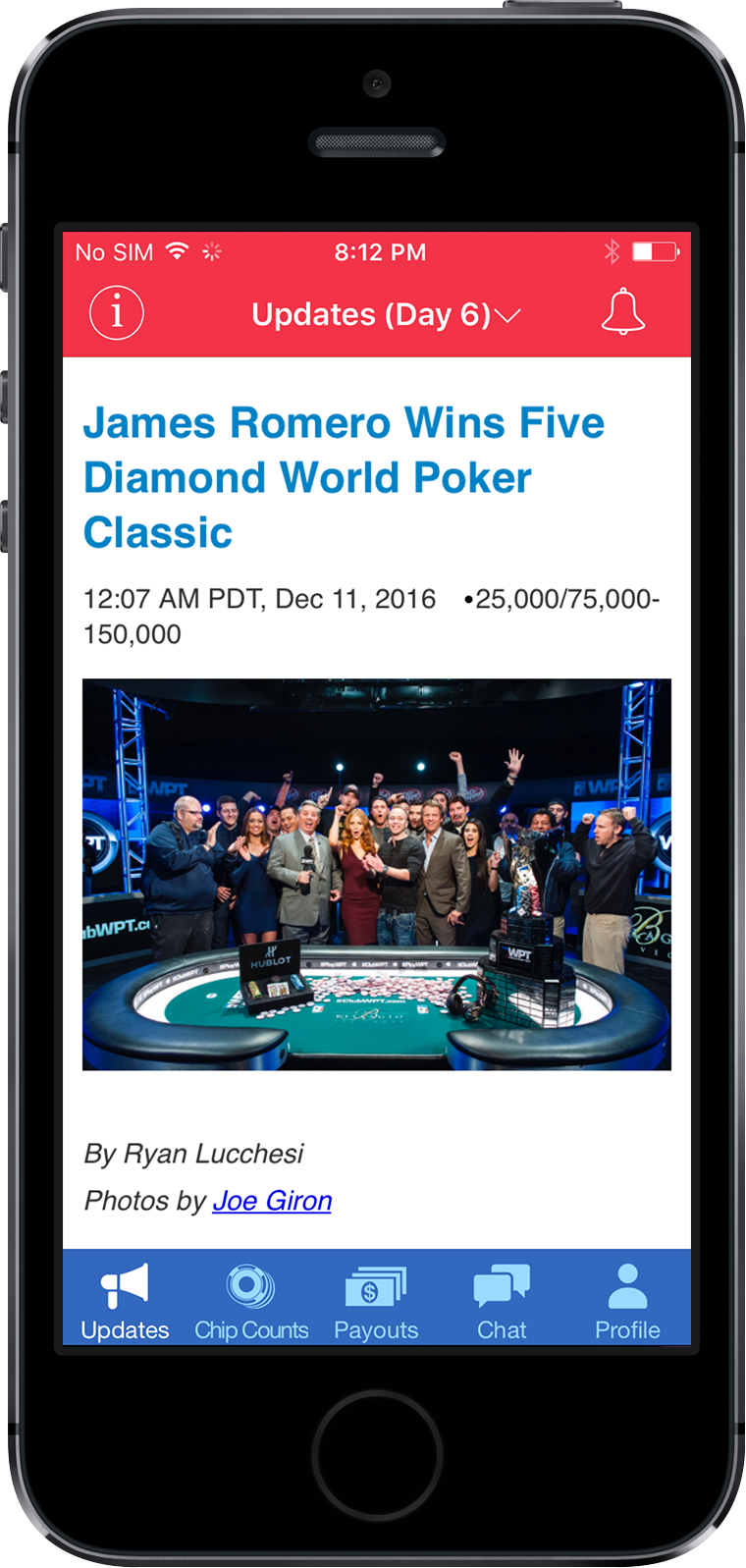 MyWPT App Screen 3 | Poker Tournament Reporting