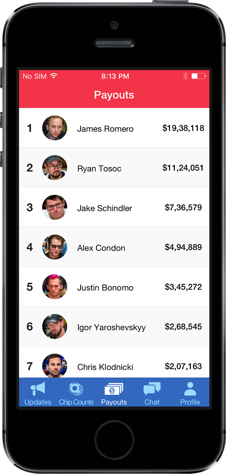 MyWPT App Screen 2 | Poker Tournament Reporting