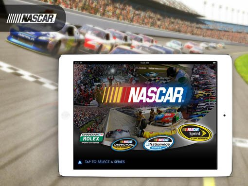 Banner | Mobile app developed by LeewayHertz for NASCAR allowing team members to present customized content from catalogs at events